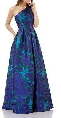 Carmen Marc Valvo One-Shoulder Ball Gown