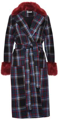 Next Womens Glamorous Check Faux Fur Trim Coat