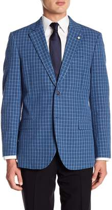 Nautica Blue Plaid Tow Button Notch Lapel Classic Fit Sport Coat