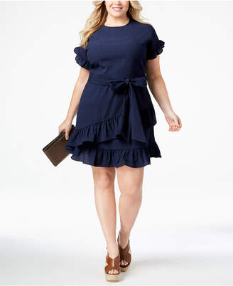 MICHAEL Michael Kors Size Ruffled Wrap Dress