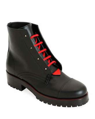 Valentino 2040 Rouge Bond Combat Boots