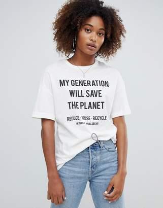 Pull&Bear my generation slogan eco friendly t shirt