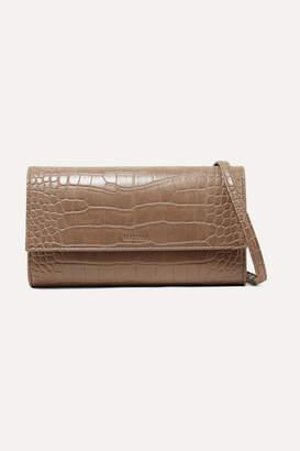 Nanushka - Day Croc-effect Vegan Leather Shoulder Bag - Mushroom