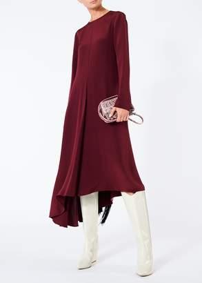 cb96798fb90c0 Tibi Silk Asymmetrical Dress with Fringe