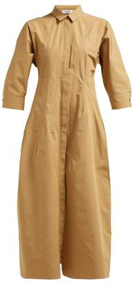 Jil Sander Garden Cotton Poplin Shirt Dress - Womens - Brown