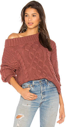J.o.a. Off The Shoulder Cable Sweater