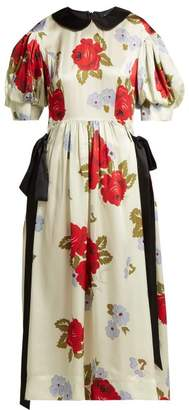 Simone Rocha Floral Print Silk Midi Dress - Womens - Ivory Multi
