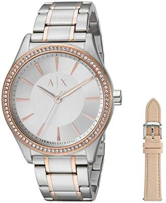 Armani Exchange Women's Stainless Steel Watch and Leather Strap Gift Set AX7103