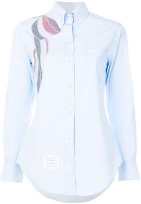 Thom Browne Beaded Bow Button-down Poplin Shirt