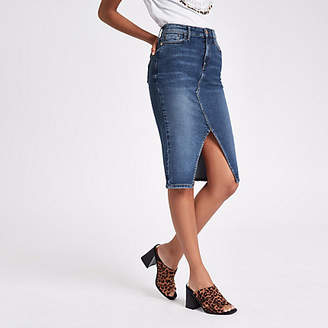 River Island Womens Mid Blue denim pencil skirt