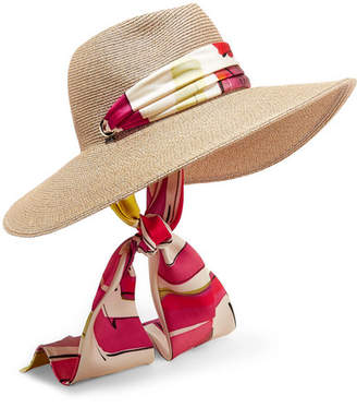 Eugenia Kim Cassidy Printed Faille-trimmed Woven Faux Raffia Sunhat - Beige