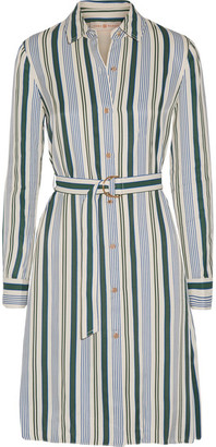 Tory Burch - Villa Striped Satin-twill Dress - Blue $425 thestylecure.com