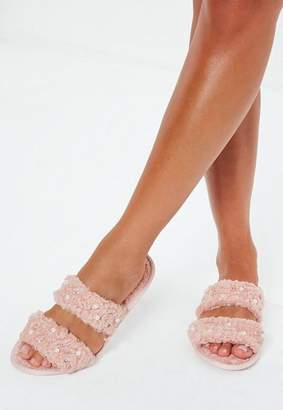 Missguided Borg Lined Pearl Detail Slippers