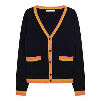 Navy/Mustard/Cocktail Cashmere Stripe Trim Cardigan