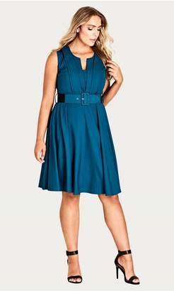 City Chic Citychic Vintage Veronia Dress- cerise