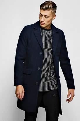 boohoo Single Breasted Wool Mix Overcoat