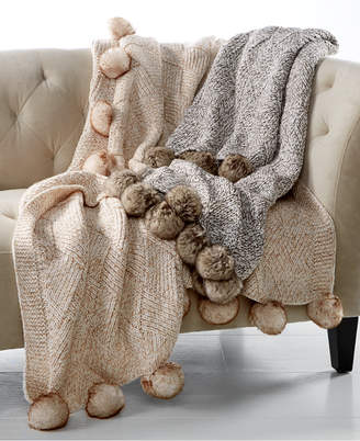 Martha Stewart Collection Closeout! Martha Stewart Collection Basketweave Marled Faux-Fur Pom Pom Throw, Created for Macy's Bedding