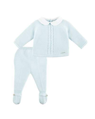 Pili Carrera Collared Knit Sweater w/ Footed Leggings, Blue, Size 1-9 Months