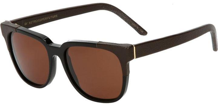 RetroSuperFuture Retro Super Future '778 People' leather trim sunglasses