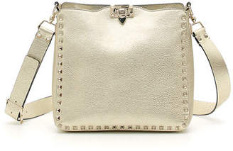 Valentino Rockstud Small Metallic Leather Hobo Bag