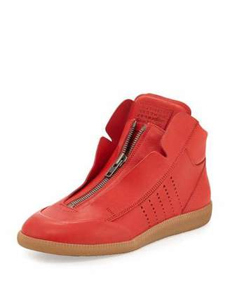 Maison Margiela Circuit Perforated Leather High-Top Sneaker, Red $895 thestylecure.com