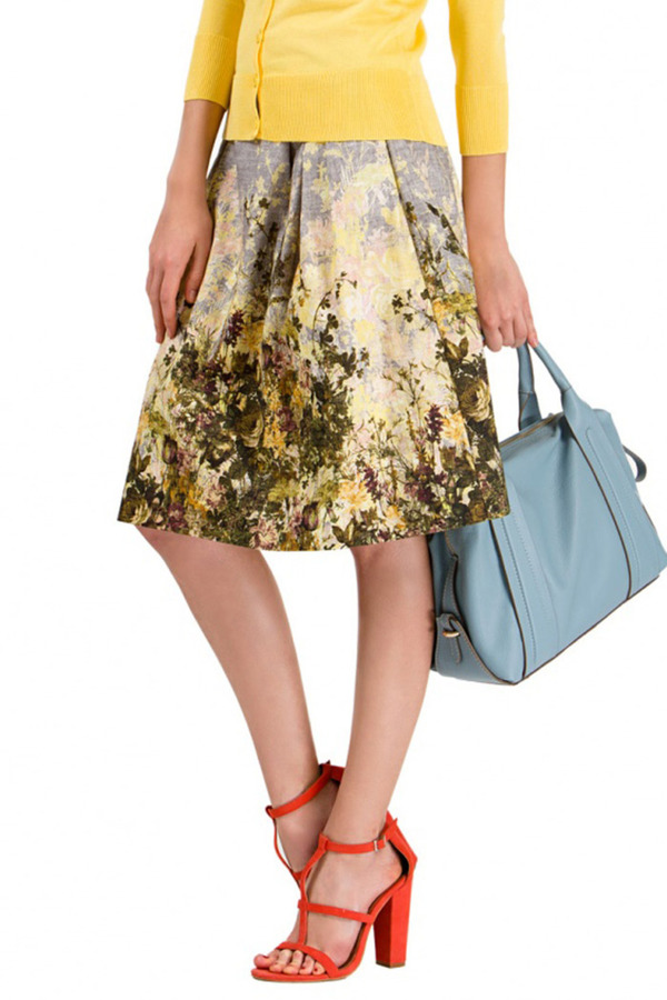 Roman Yellow Floral Skirt