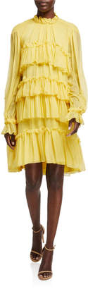 ADAM by Adam Lippes Tiered Ruffle Silk Chiffon Dress