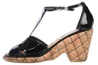 Chanel Patent Leather T-Strap Sandals