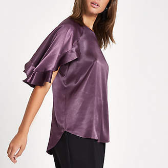 River Island Womens Purple chiffon frill sleeve top