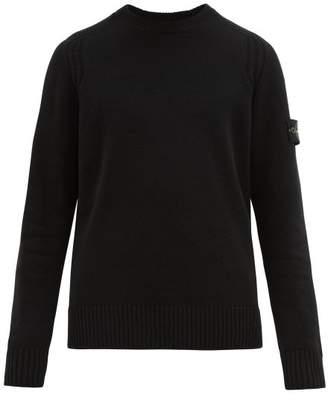 Stone Island Logo Patch Wool Sweater - Mens - Black