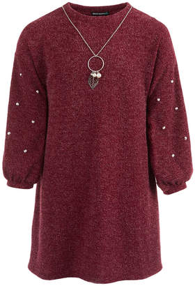 Sequin Hearts Big Girls Sweater Dress & Necklace Set