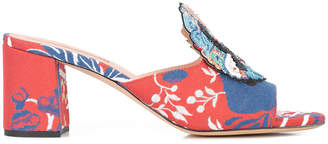 bead-embellished printed sandals