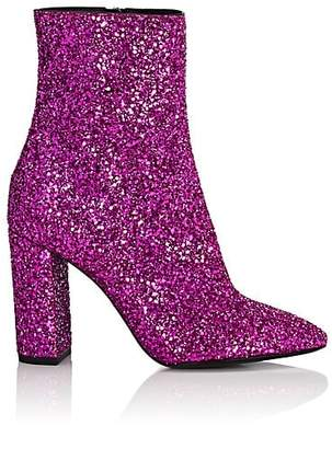 Saint Laurent Women's Loulou Glitter Ankle Boots - Md. Pink