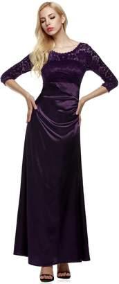 ANGVNS Evening Dress Women Long Sleeve Lace Dress Wedding Party Dress