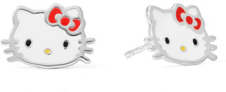Hello Kitty Sterling Silver Bow Head Stud Earrings $99.98 thestylecure.com