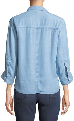 Neiman Marcus Oversized Chambray Tie-Front Blouse