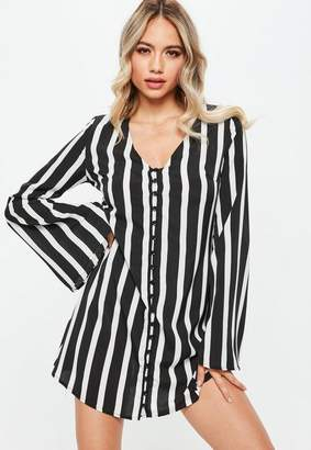 Missguided Black Monochrome Stripe Button Up Flared Sleeve Skater Dress