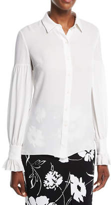 Michael Kors Gathered-Sleeve Silk Shirt