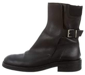 Gucci Leather Square-Toe Moto Boots