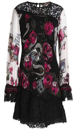 Roberto Cavalli Lace-Paneled Floral-Jacqaurd Mini Dress