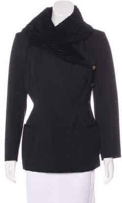 Plein Sud Jeans Shearling-Trimmed Wool Jacket