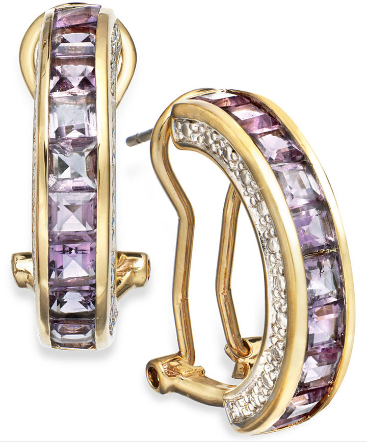 Townsend Victoria 18k Gold over Sterling Silver Earrings, Amethyst (2-3/4 ct. t.w.) and Diamond Accent J Hoop Earrings