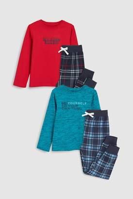 Next Boys Turquoise Check Pyjamas Two Pack (3-16yrs)