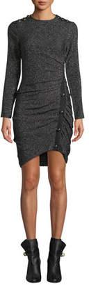 Veronica Beard Ira Ruched Tweed Metallic Dress