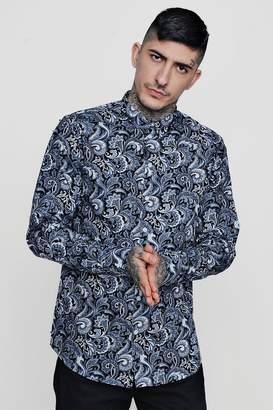 boohoo Paisley Print Long Sleeve Shirt