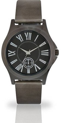 ACCUTIME WATCH CORP Men's Black Face Fashion Watch, Mesh Metal Band