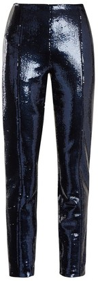 Diane von Furstenberg Skinny Sequin Embellished Trousers - Womens - Navy