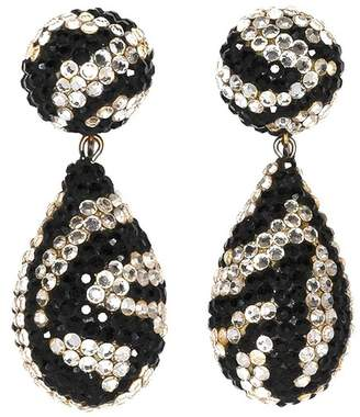 Kenneth Jay Lane White And Black Drop Clip Earrings