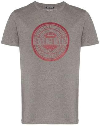 Balmain grey and red logo print cotton t shirt