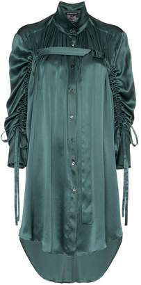 Ann Demeulemeester ruched sleeve long line silk shirt